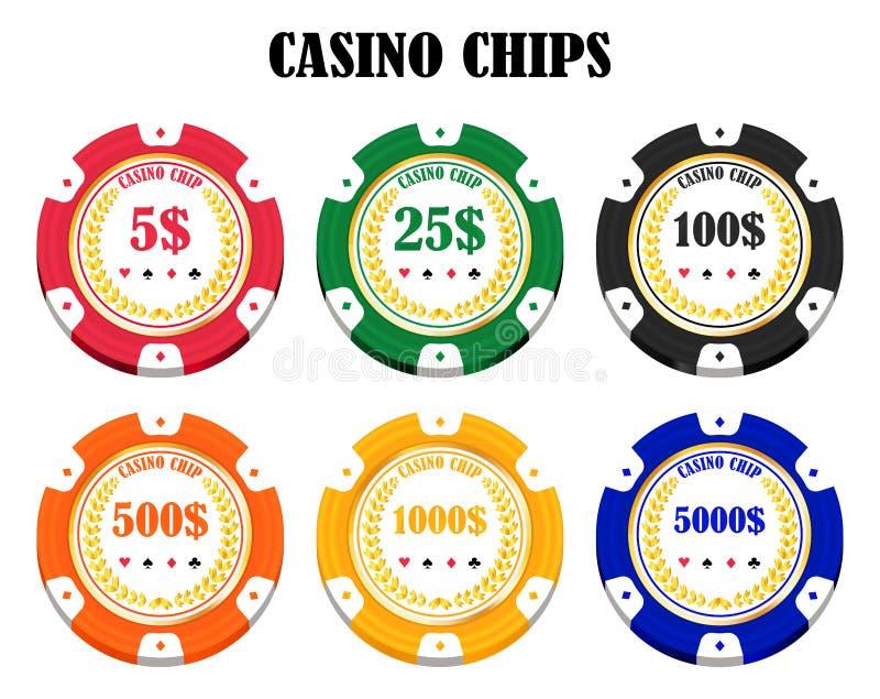 Satz Chips eines wirkliche bunte Kasinos lizenzfreie abbildung