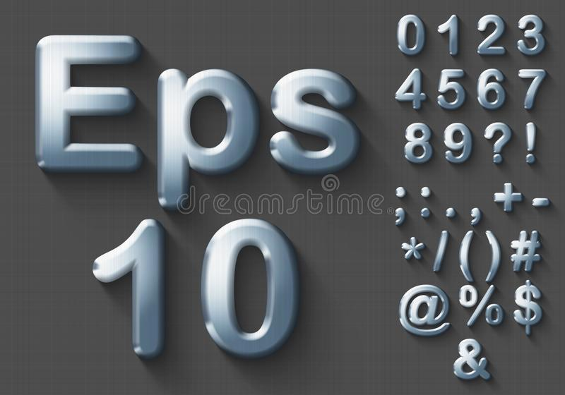 Satz Chrom 3D Zahlen und Symbole vektor abbildung