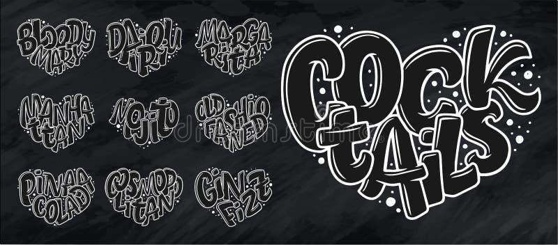 Satz Cocktailnamen, beschriftend im Herzen - Gin Fizz, kosmopolitisch, Pina Colada, altmodisch, Mojito, Manhattan, Margarita, Dai lizenzfreie abbildung