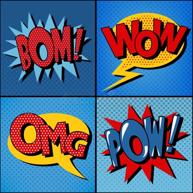 Satz Comics-Blasen in der Weinlese-Art vektor abbildung
