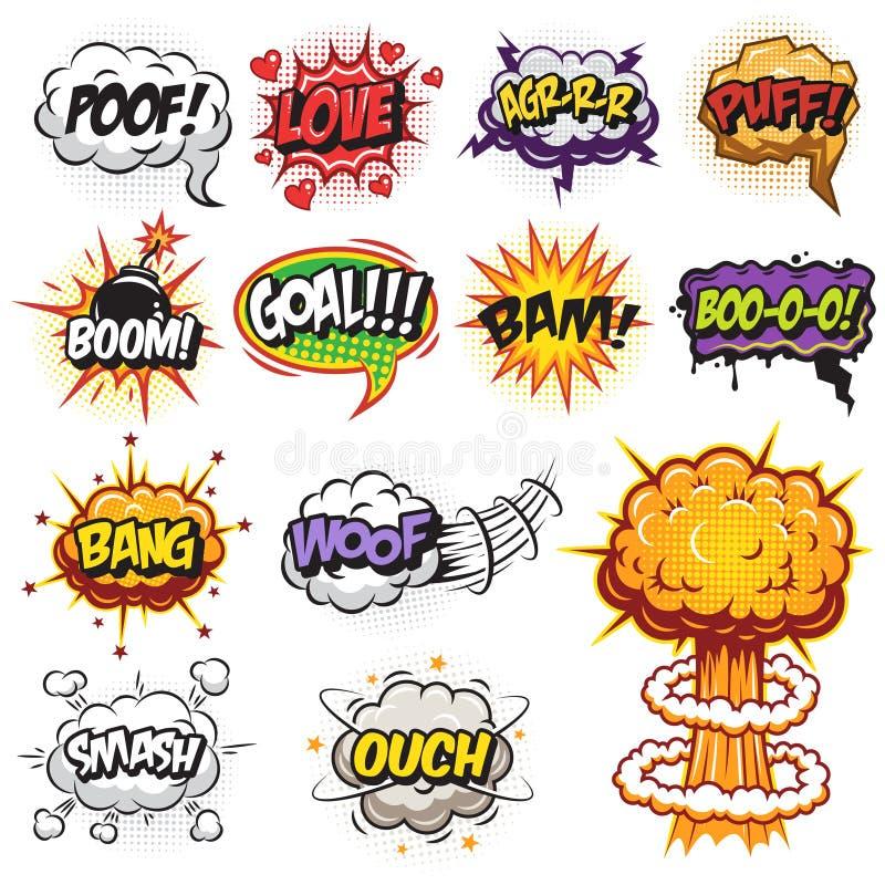 Satz Comicssprache- und -explosionsblasen lizenzfreie abbildung