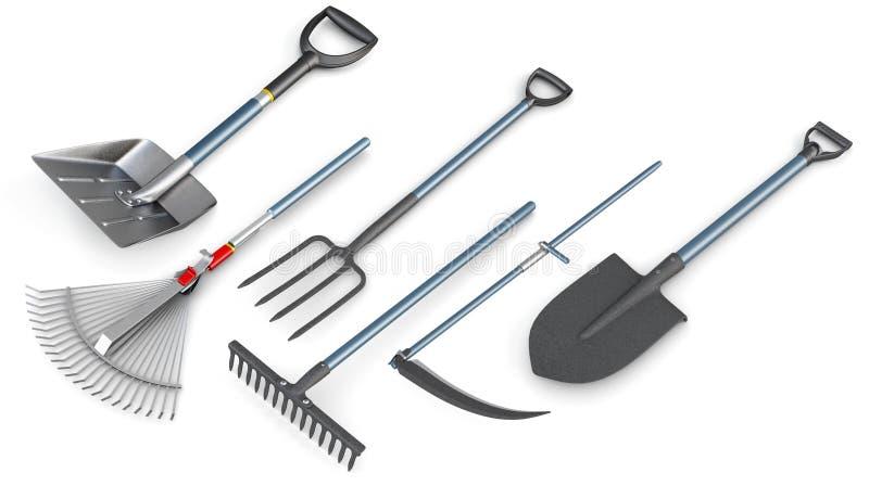 Satz 3d Gartenwerkzeuge stock abbildung