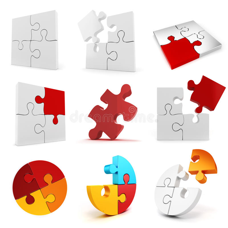 Satz 3d Puzzlespielstücke vektor abbildung