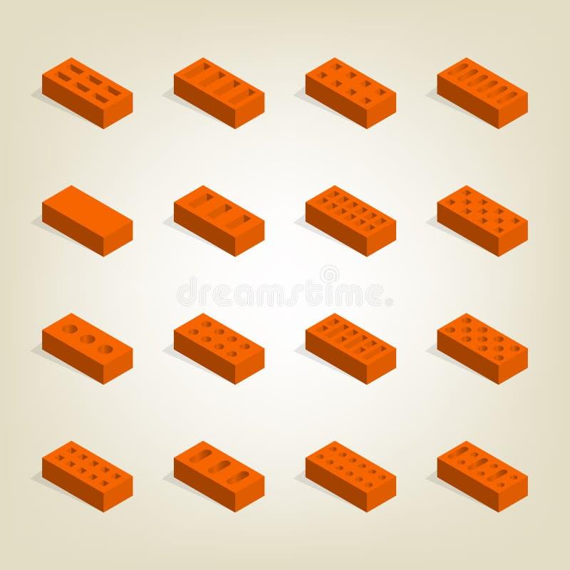 Satz 3d Ziegelsteine in isometrischem, Vektorillustration stock abbildung