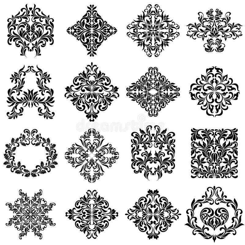 Satz Damastverzierungen für Designgebrauch Elegante Blumen- und Weinleseelemente Verschönerungen lokalisiert auf weißem Hintergru stock abbildung