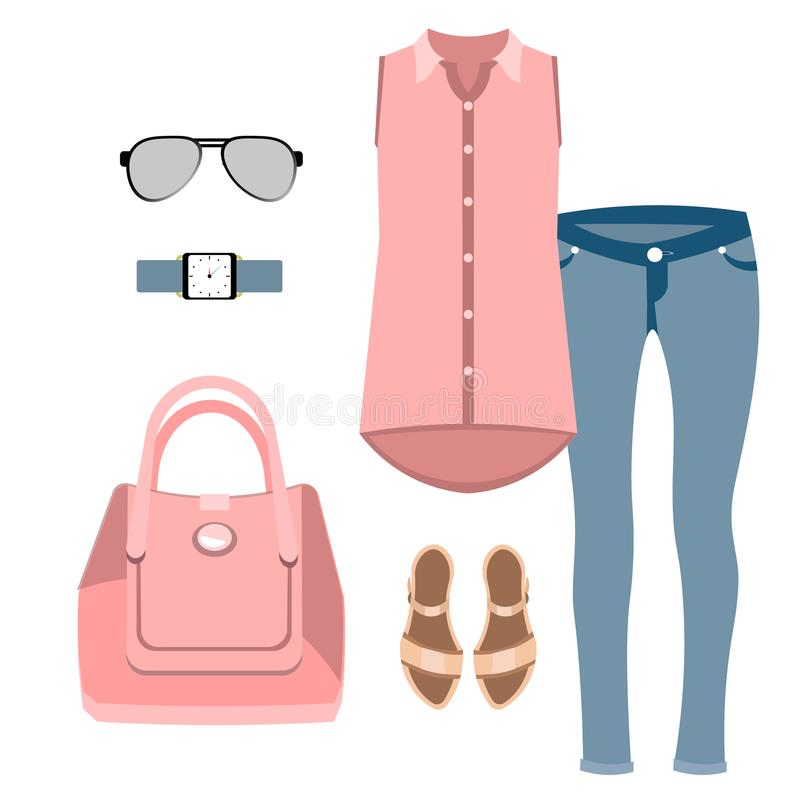 Satz Dame Fashion lizenzfreie abbildung
