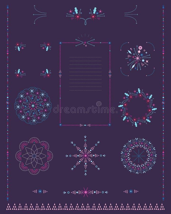 Satz dekorative Grenzen, Rahmen, Rosetten von dünnen mikroskopischen Elementen stock abbildung