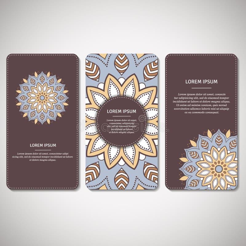 Satz dekorative Karten, Flieger mit Blumenmandala im Braun, Querstation lizenzfreie abbildung