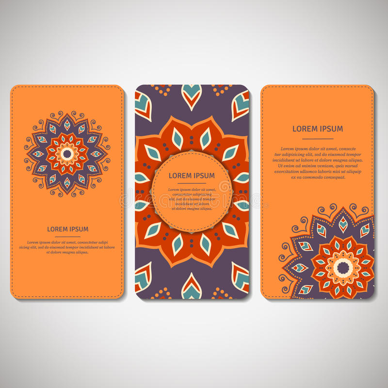 Satz dekorative Karten, Flieger mit Blumenmandala im Türkis stock abbildung