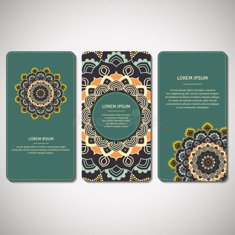 Satz dekorative Karten, Flieger mit Blumenmandala im Türkis lizenzfreie abbildung