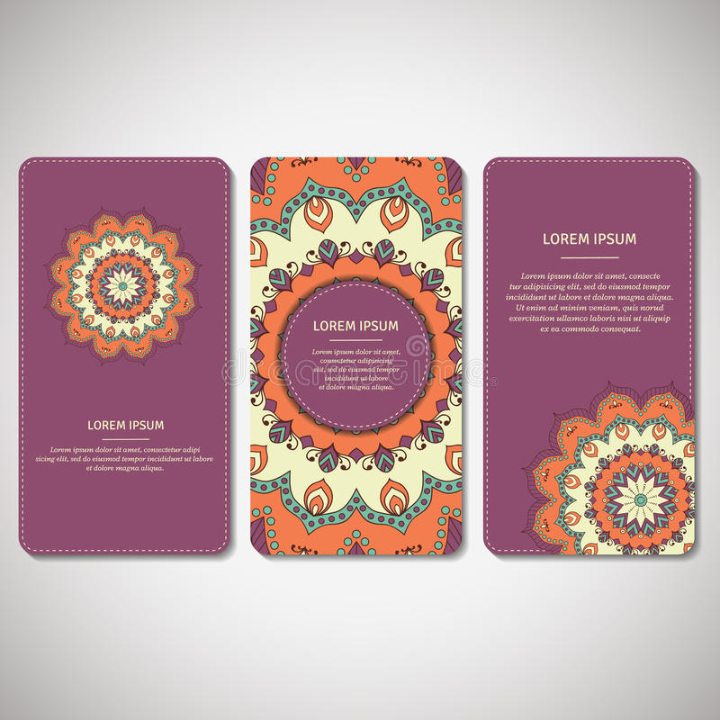 Satz dekorative Karten, Flieger mit Blumenmandala in Veilchen, O stock abbildung