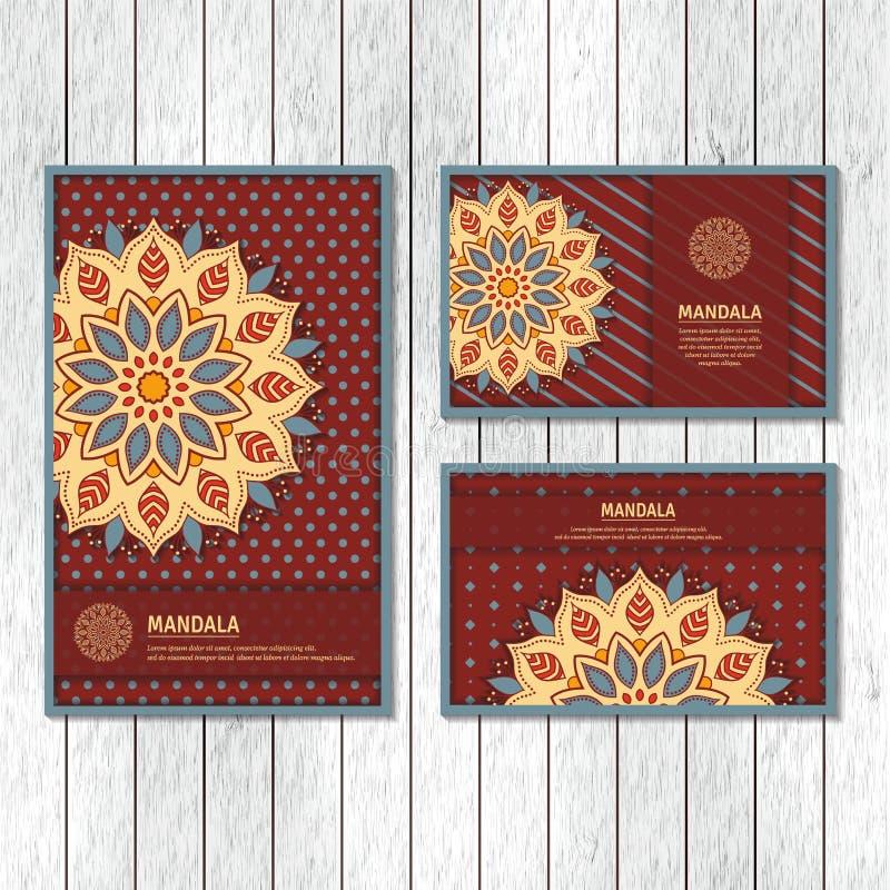 Satz dekorative Karten, Flieger mit bunter Blumenmandala vin stock abbildung