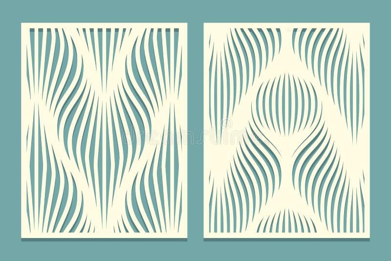 Satz dekorative Platten für den Schnitt von Papierkarten, von Gestaltungselementen, Scrapbooking und von anderem Geometrische gew lizenzfreie abbildung