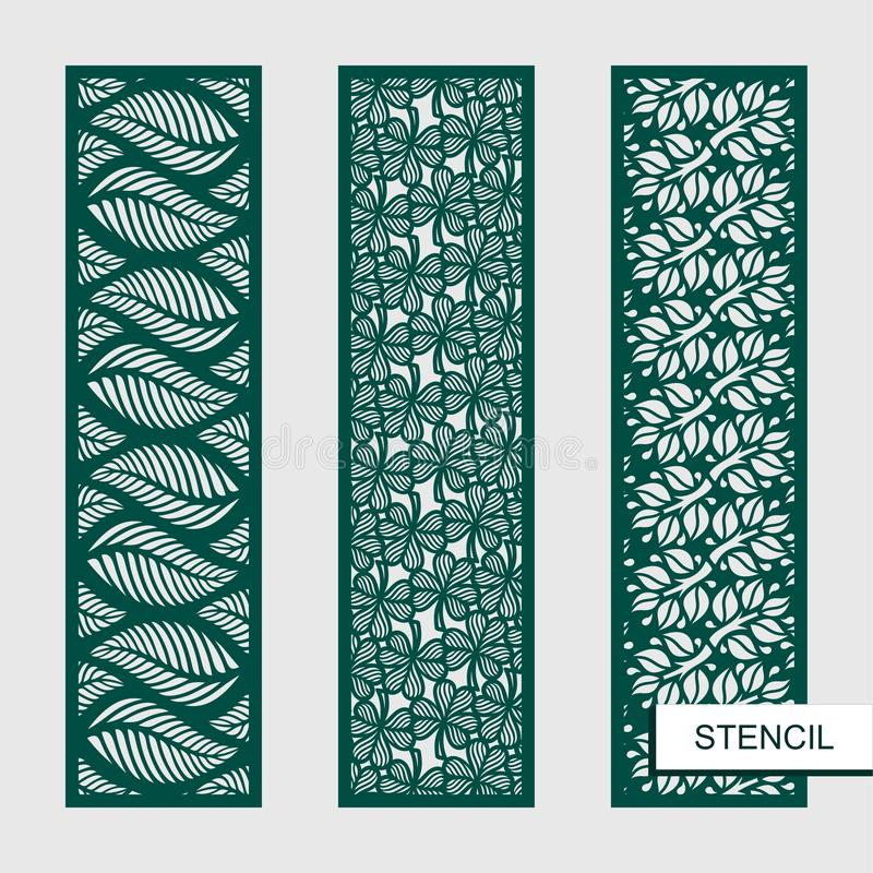 Satz dekorative Vektorplatten Schablonen mit Blättern, Niederlassungen, Klee Betriebsthemen lizenzfreie abbildung