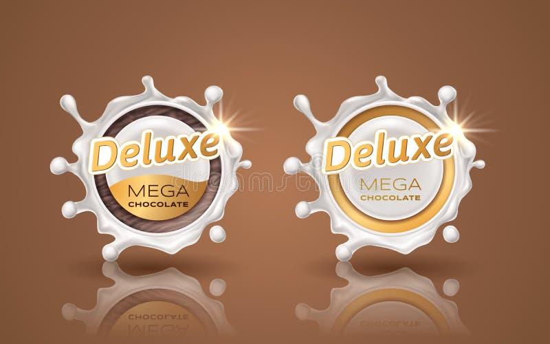 Satz deluxe Designaufkleber in der Goldfarbe lokalisiert auf Hintergrund Dynamisches Spritzen des Strudels von Milch Weißes Schok stock abbildung