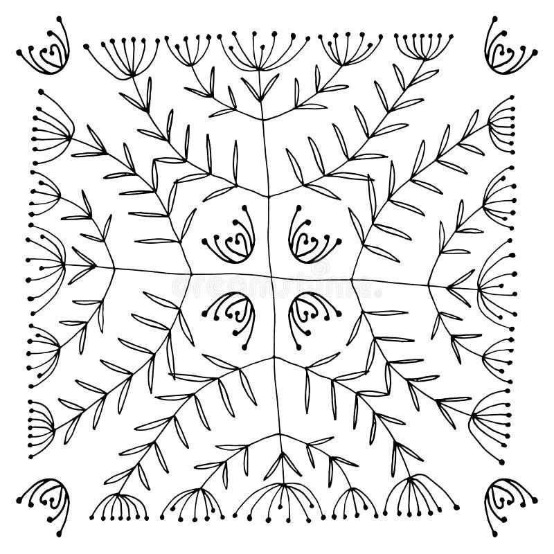 Satz der abstrakten schwarzen gezeichneten Hand blüht in der Gekritzelart Nahtloses Muster Vektorabbildung EPS10 lizenzfreie abbildung