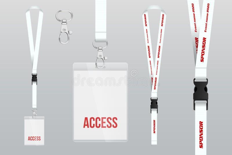 Satz der Abzugsleine und des Ausweises Metallstück Plastikausweis Schablone f lizenzfreie abbildung