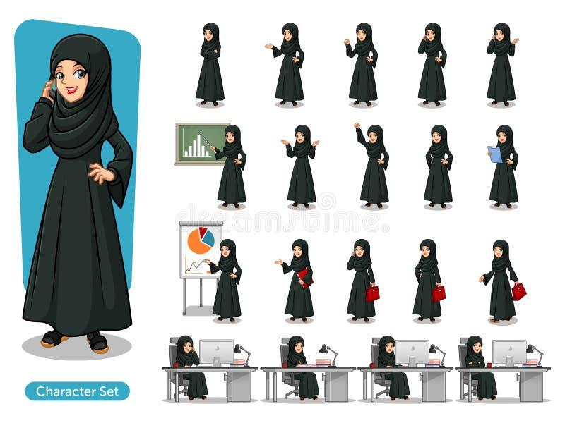 Satz der arabischen Geschäftsfrau im schwarzen Kleiderzeichentrickfilm-figur-Design lizenzfreie abbildung