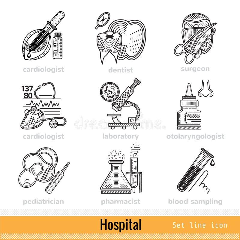 Satz der Art von Doktoren Outline Web Icons stock abbildung