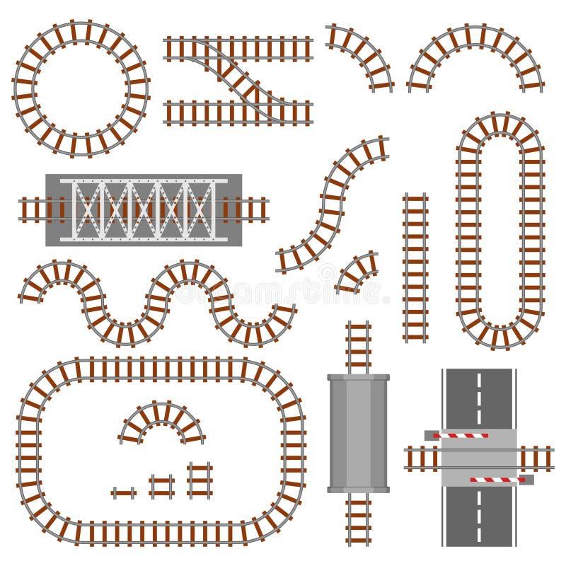 Satz der BahnDraufsicht der teile, der Schiene oder der Eisenbahn Verschiedene Zugbauelemente Zugtransportbahn gemacht vektor abbildung