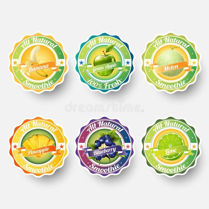 Satz der Banane, grüner Apfel, Melone, Kantalupe, Ananas, Blaubeere, Kalk, Saft, Smoothie, Milch, Cocktail und neue Aufkleber spr vektor abbildung