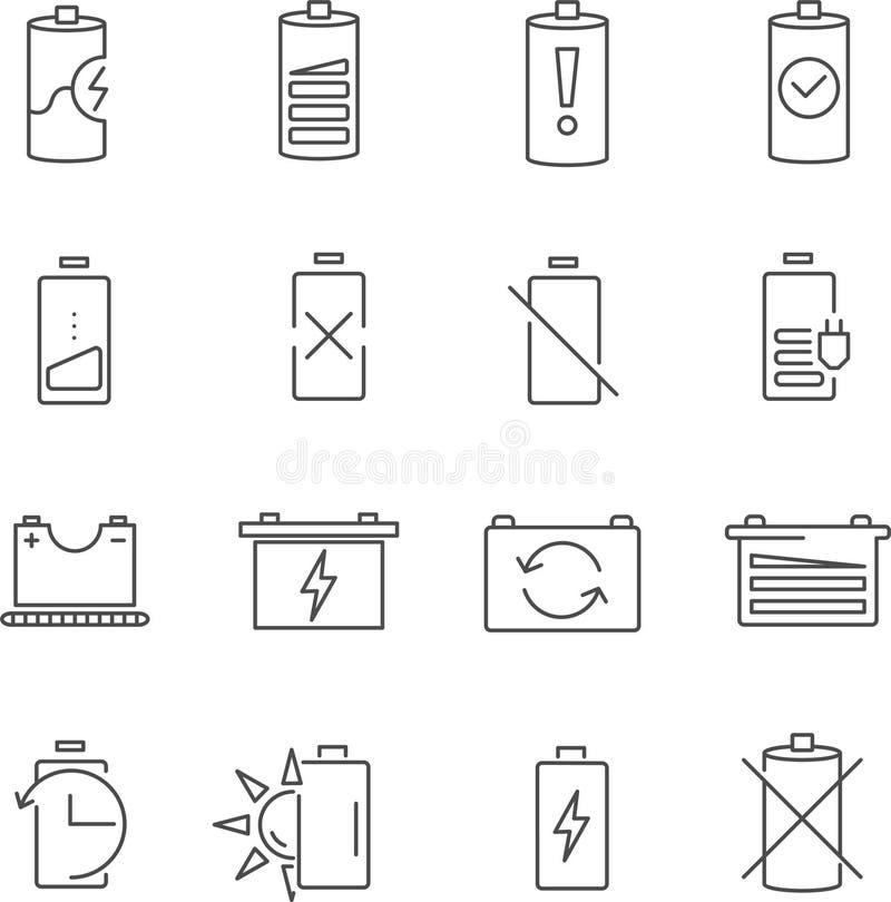 Satz der Batterielinie Vektorikonen lizenzfreies stockfoto