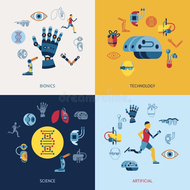 Satz der Bionik und der Ikone der künstlichen Intelligenz stock abbildung