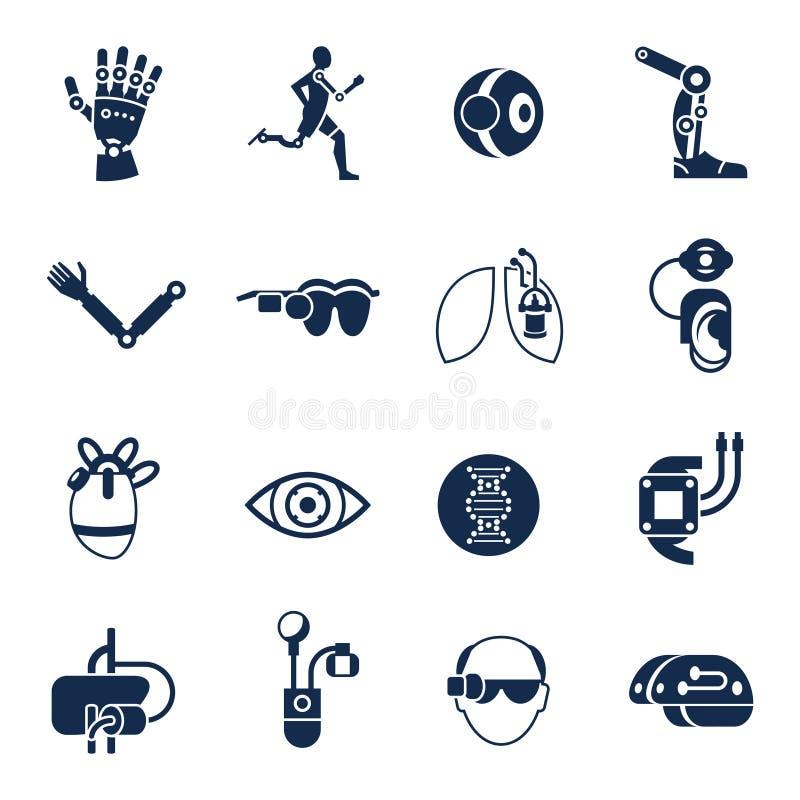 Satz der Bionik und der Ikone der künstlichen Intelligenz lizenzfreie abbildung