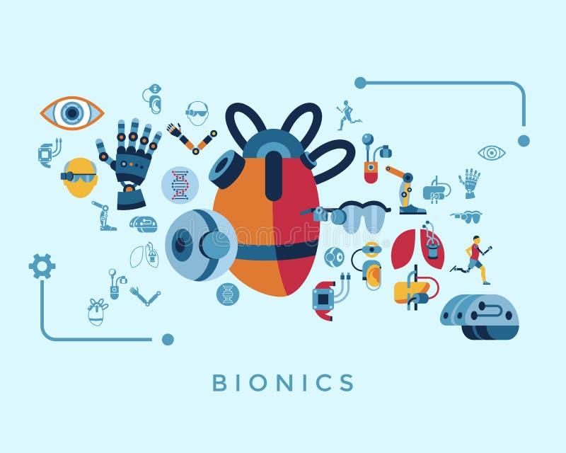 Satz der Bionik und der Ikone der künstlichen Intelligenz vektor abbildung