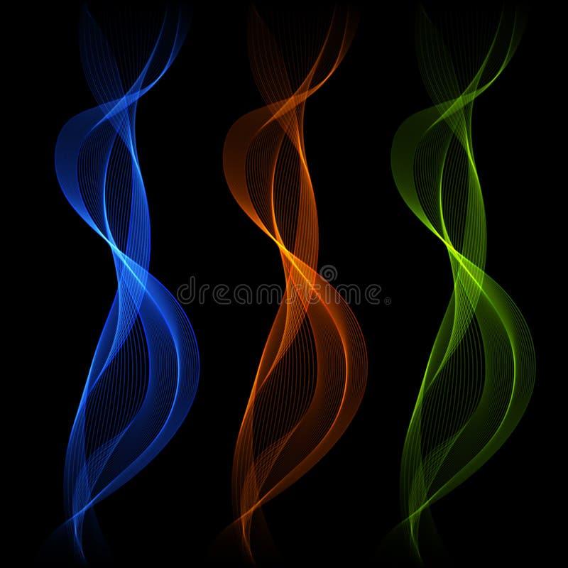 Satz der blauen, orange, abstrakten lokalisierten transparenten Welle zeichnet FO vektor abbildung