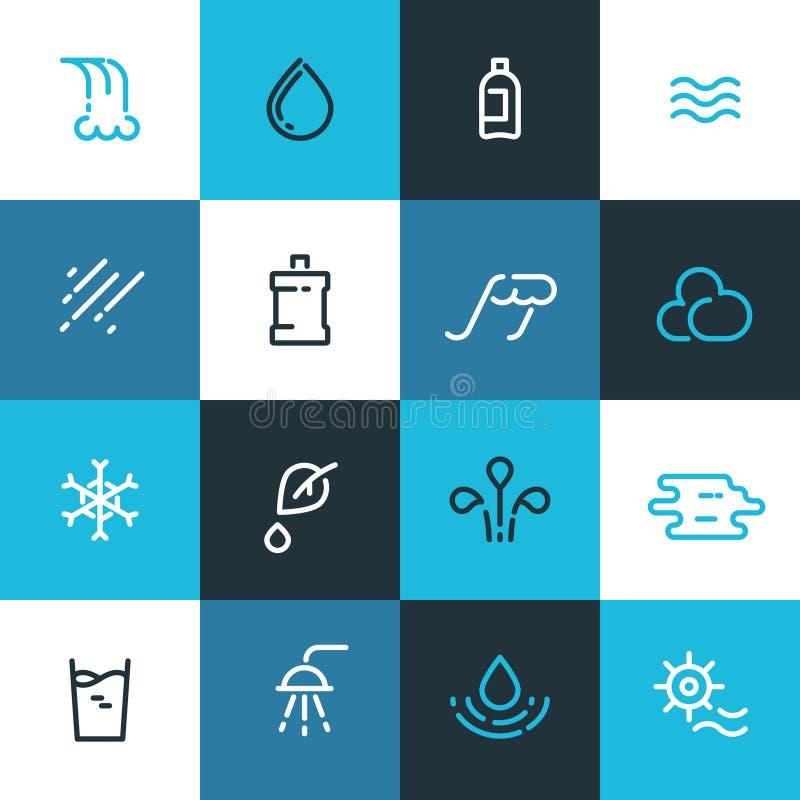 Satz der blauen Wasserlinie Ikonen Vektorwasserelemente stock abbildung