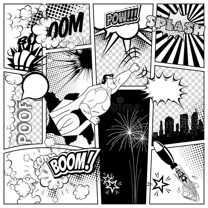 Satz der Comicsrede und -explosion sprudelt auf einem Buchseitenhintergrund Superheld, Rakete, Stadtschattenbildfeuerwerk vektor abbildung