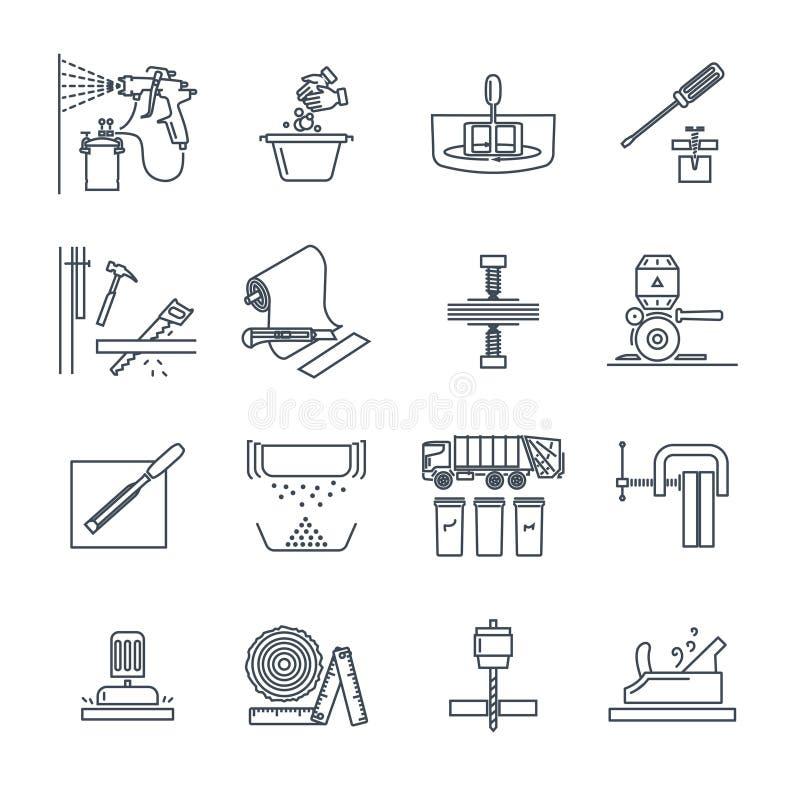 Satz der dünnen Linie Ikonen bringen Reparatur, Arbeit, Werkzeug unter lizenzfreie abbildung