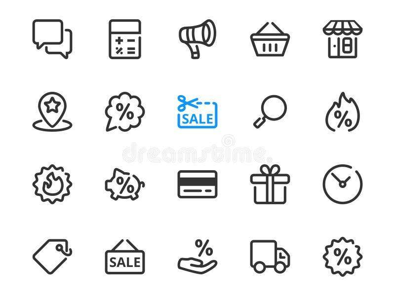 Satz der dünnen Linie Ikonen der Rabattsymbole für Verkauf stock abbildung
