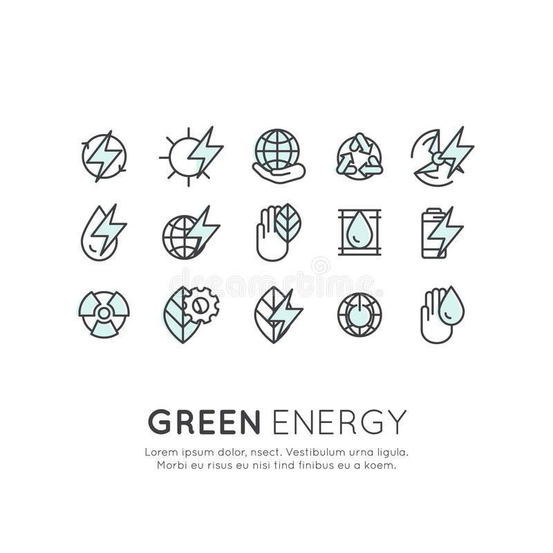 Satz der dünnen Linie Ikonen von Umwelt, erneuerbare Energie, nachhaltige Technologie, bereitend, Ökologielösungen auf stockfotografie