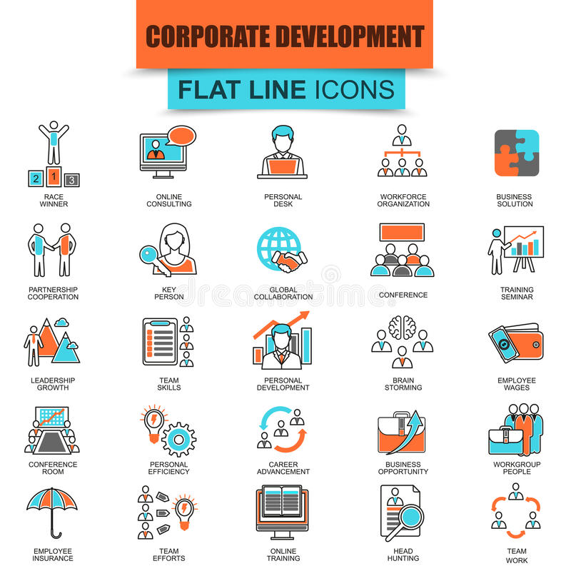 Satz der dünnen Linie Ikonenunternehmensentwicklung lizenzfreie abbildung