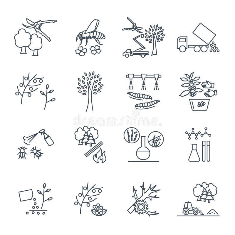 Satz der dünnen Linie im Garten arbeitende Ikonen, landwirtschaftliche Produktion stock abbildung