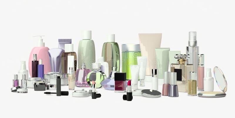 Satz der dekorativen Kosmetik Pulver, Abdeckstift, Lidschattenpinsel, stockbild