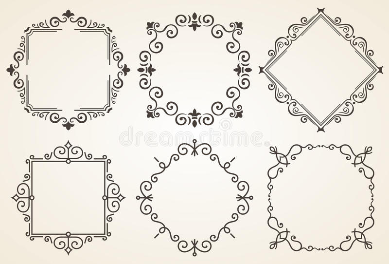 Satz der dekorativen Rahmenvektorillustration Eleganter Luxusweinlesekalligraphierahmen Schablone für Grußkarte lizenzfreie abbildung