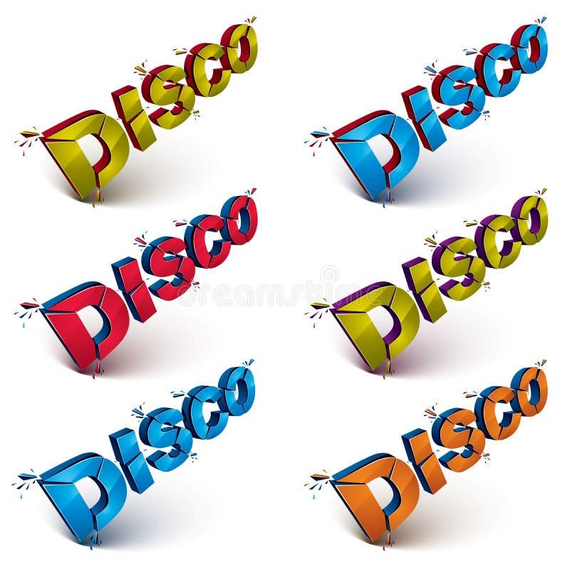 Satz der Disco 3d fasst defektes in Stücke, demoliertes Vektor desi ab stock abbildung