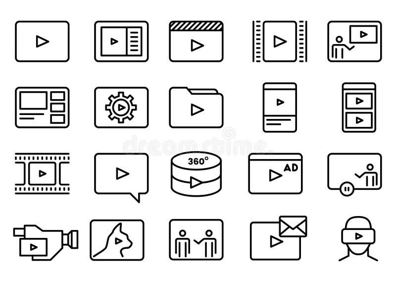 Satz der einfachen Videovektor-Linie Art Icons lizenzfreie abbildung