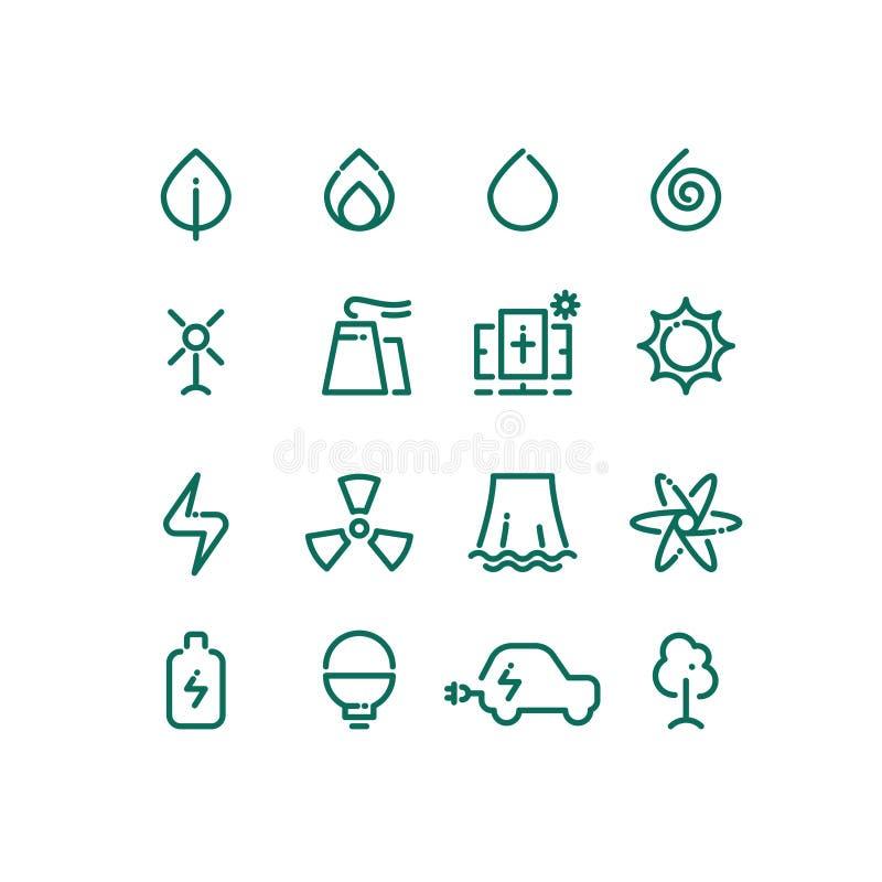 Satz der Energiequellenlinie Ikonen Piktogramme der alternativen Energie des Vektors lizenzfreie stockfotos