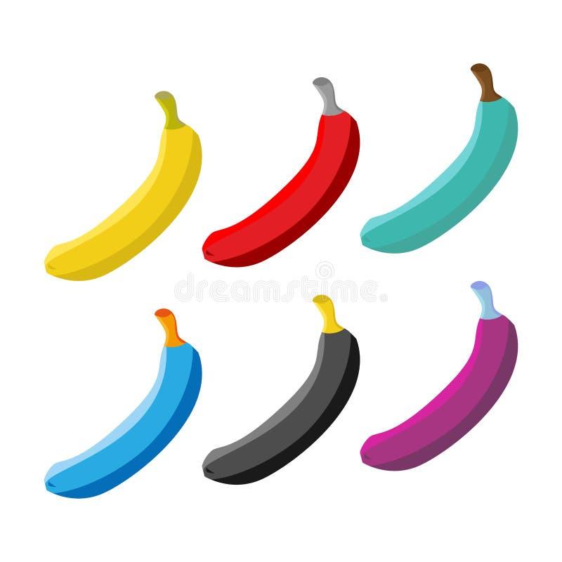 Satz Der Farbigen Banane Mehrfarbige Früchte Vektor Abbildung ...