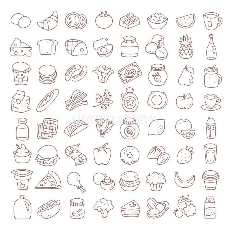 Satz der flachen dünnen Linie Lebensmittelikonen Einkaufsumbauten und -ikonen lizenzfreie abbildung