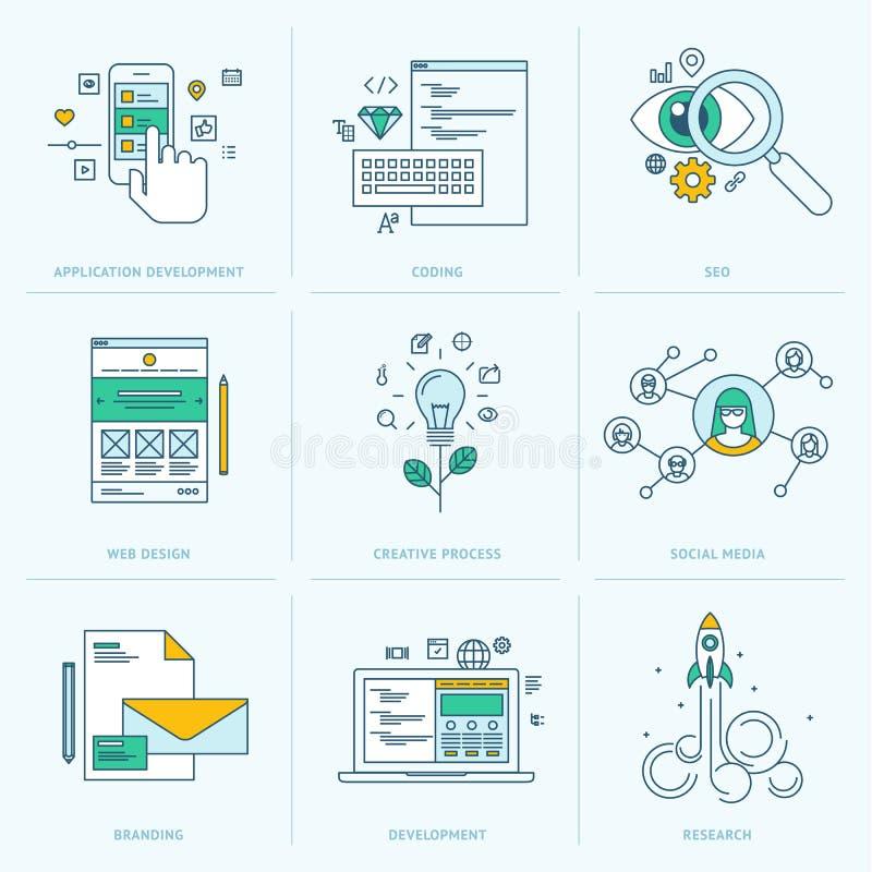 Satz der flachen Linie Ikonen für Web-Entwicklung lizenzfreie abbildung