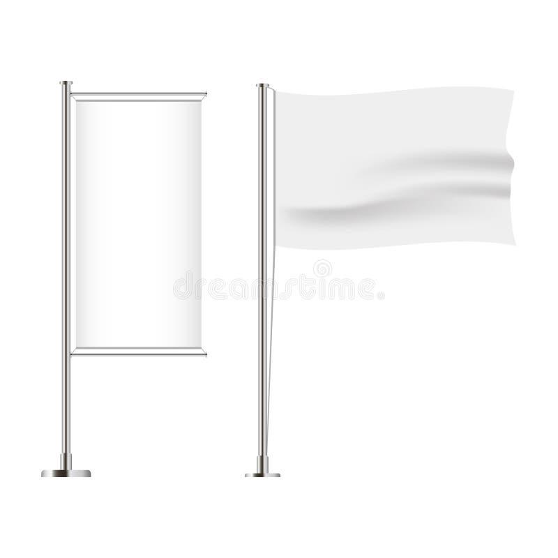Satz der Flagge Horizontale und vertikale, gewellte und Fahnenflagge Realistisches Modell Vektor lizenzfreie abbildung