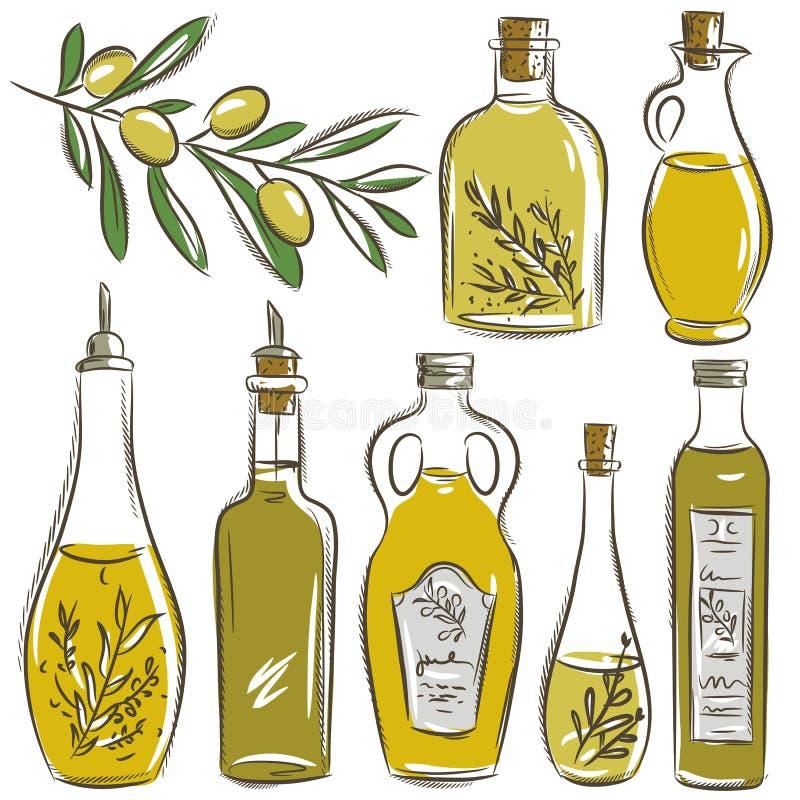 Satz der Flasche für Olivenöl, Vektor vektor abbildung