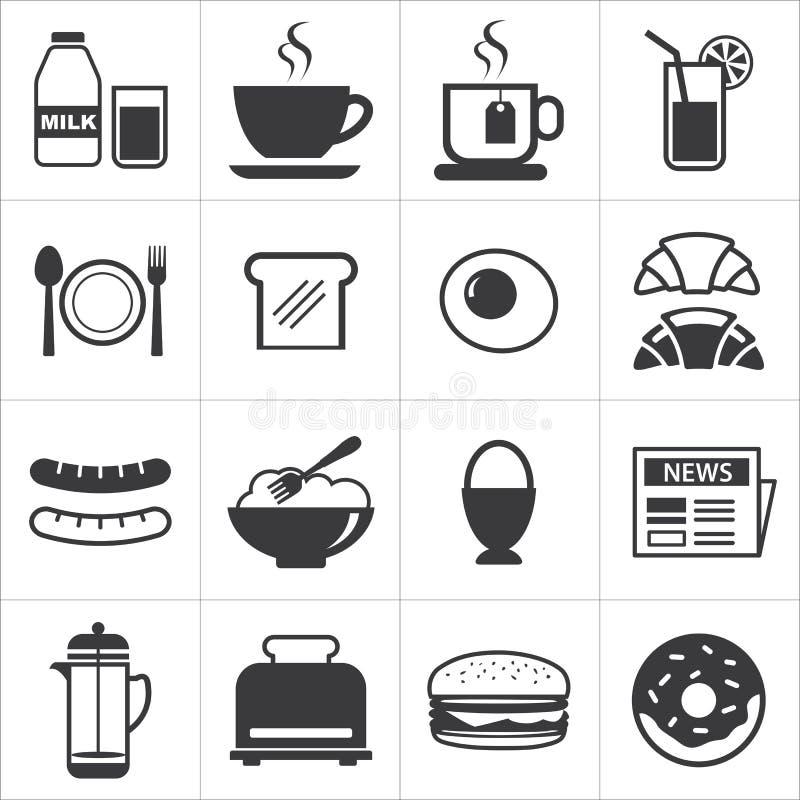 Satz der Frühstücksikone lizenzfreie abbildung