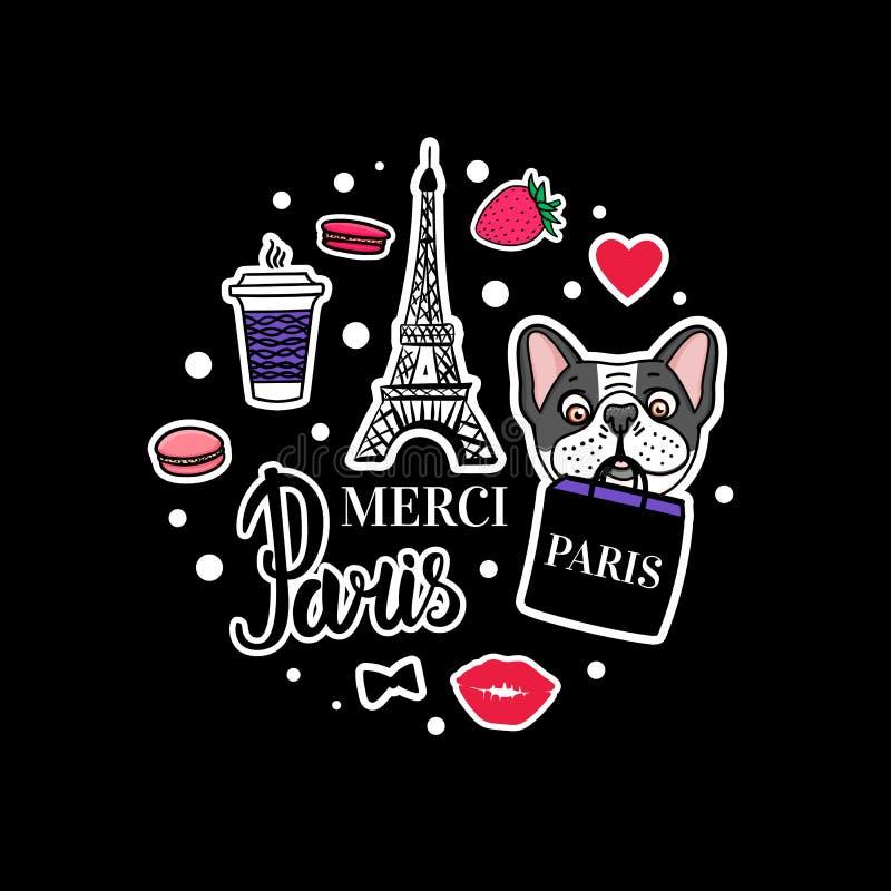 Satz der französischen Bulldogge Eiffelturm und nette Hundegesichter Vektorhandgezogener Aufkleber vektor abbildung
