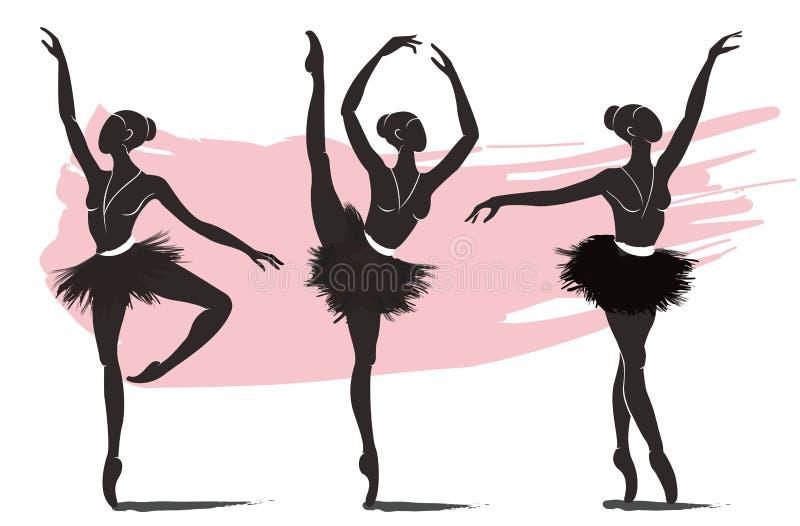Satz der Frauenballerina, Ballettlogoikone für Ballettschultanzstudio-Vektorillustration vektor abbildung